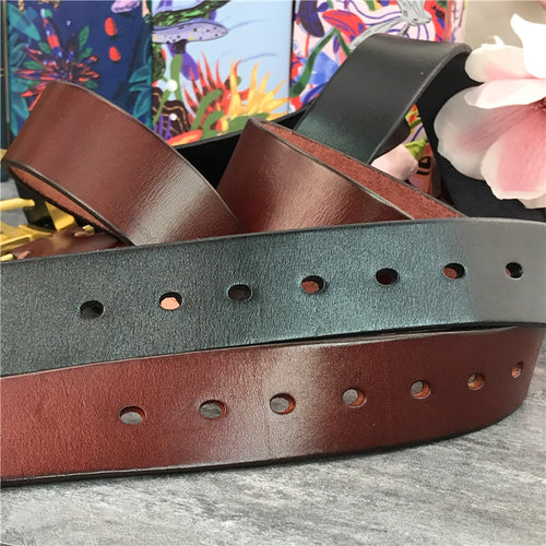 Men's Genuine Cowskin Leather Thick Belt with Stainless Steel Buckle