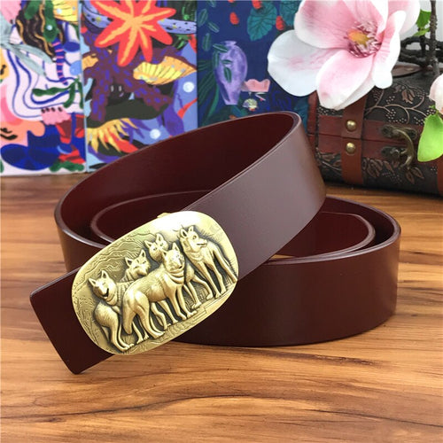 Men's Genuine Cowskin Leather Belt with Stainless Steel Wolf Buckle