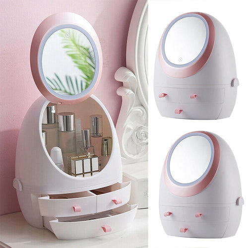 Makeup and Cosmetic Storage Organizer with Rechargeable LED Mirror