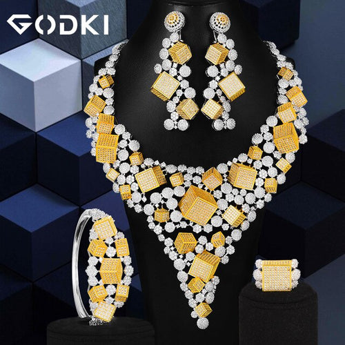 Women's 4 Piece African Style Geometric Jewelry Set with Long Drop Earrings Bracelet Ring and Matching Necklace