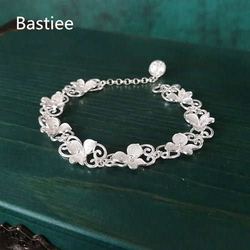 Women's 999 Sterling Silver Adjustable Flower Bracelet