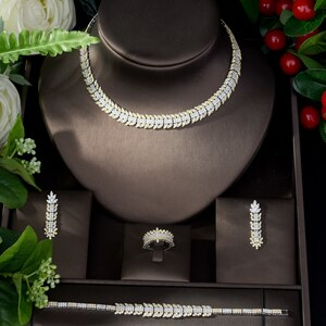 Women's 4 Piece Bridal Crystal Jewelry Set with Drop Earrings Bracelet Ring and Matching Necklace