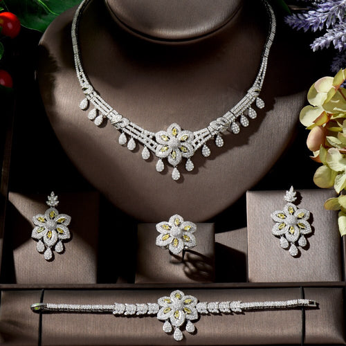 Women's 4 Piece Cubic Zirconia Flower Bridal Jewelry Set with Drop Earrings Ring Bracelet and Matching Necklace