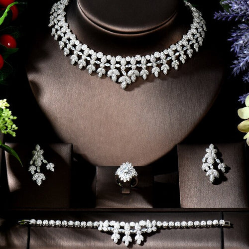 Women's 4 Piece Bridal Crystal Tassel Jewelry Set with Drop Earrings Bracelet Ring and Matching Necklace