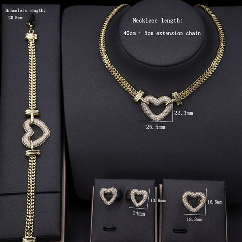Women's Cubic Zirconia Hollow Heart Jewelry Set with Stud Earrings Ring Bracelet and Matching Choker Necklace