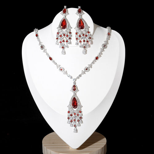 Women's Cubic Zirconia Tassel Jewelry Set with Drop Earrings and Matching Pendant Necklace