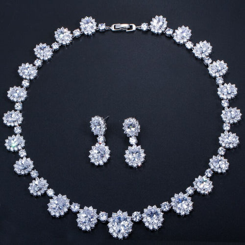 Women's 2 Piece Blue Crystal Jewelry Set with Drop Earrings and Necklace