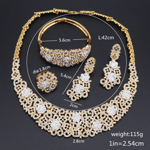 Women's Oriental Style Crystal Jewelry Set with Drop Earrings Ring Bracelet and Matching Necklace