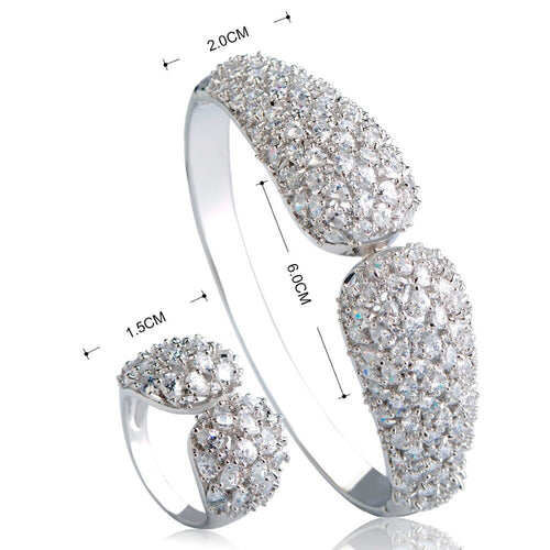 Women's Rhinestone Jewelry Set with Adjustable Finger Ring and Matching Bracelet