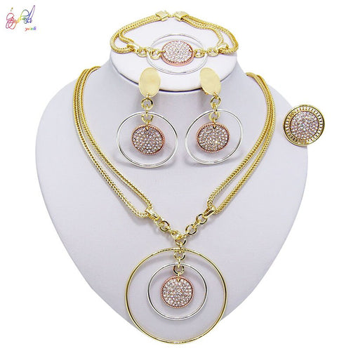 Women's African Style Crystal 4 Piece Jewelry Set with Drop Earrings Bracelet Ring and Matching Pendant Necklace