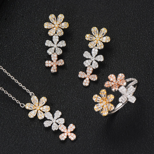 Women's Cubic Zirconia Flower Jewelry Set with Drop Earrings Ring and Matching Pendant Necklace