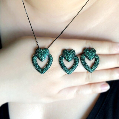 Women's Heart Jewelry Set with Stud Earrings and Matching Pendant Necklace