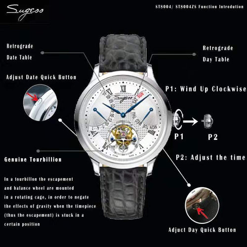 Men's 5 ATM Waterproof Mechanical Automatic Watch with Date and Day Table