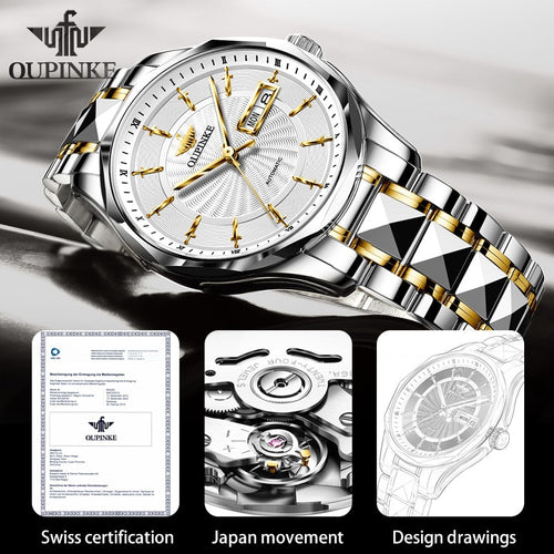 Men's Tungsten Steel Waterproof Mechanical Automatic Watch and Sunglasses Set