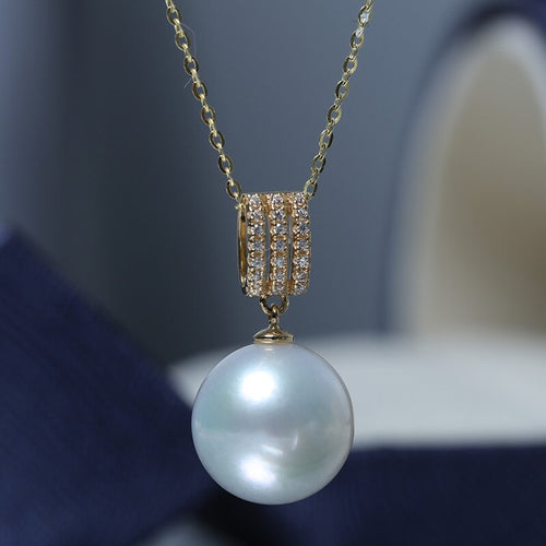 Women's Genuine 18K Gold Freshwater Edison Pearl Pendant Necklace