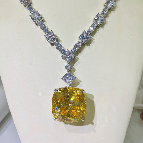 Women's 925 Sterling Silver Created Moissanite Citrine Pendent Necklace