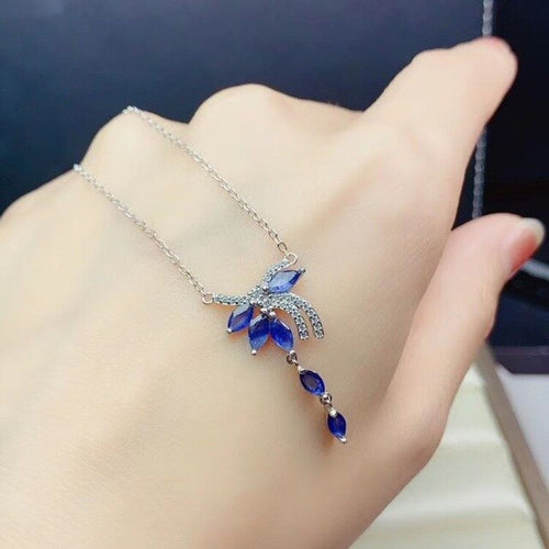 Women's 925 Sterling Silver Natural Sapphire Gemstone Pendant Necklace