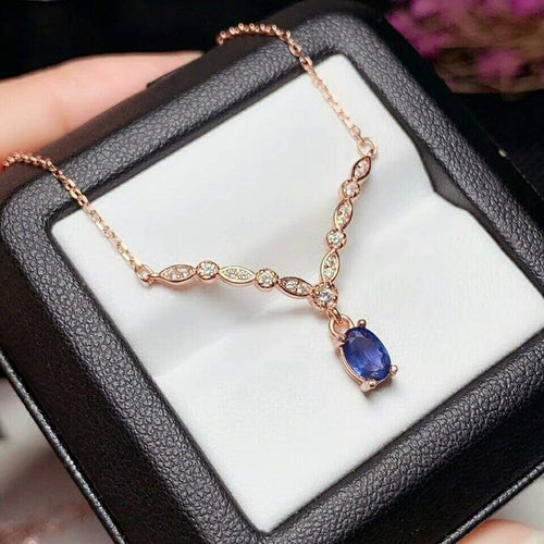 Women's 925 Sterling Silver and Natural Sapphire Bridal Pendant Necklace