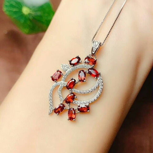 Women's 925 Sterling Silver and Natural Red Garnet Pendant Necklace