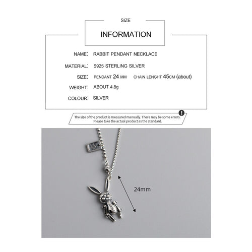 Women's 925 Sterling Silver Movable Rabbit Pendant Necklace