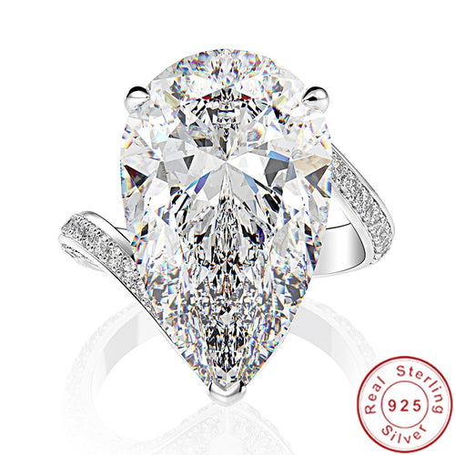 Women's 925 Sterling Silver and Moissanite Diamond Ring