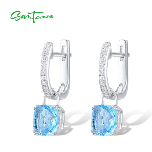 Women's 925 Sterling Silver Sky Blue Cubic Zirconia Drop Earrings