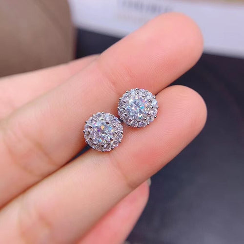 Women's 925 Sterling Silver Moissanite Stud Earrings