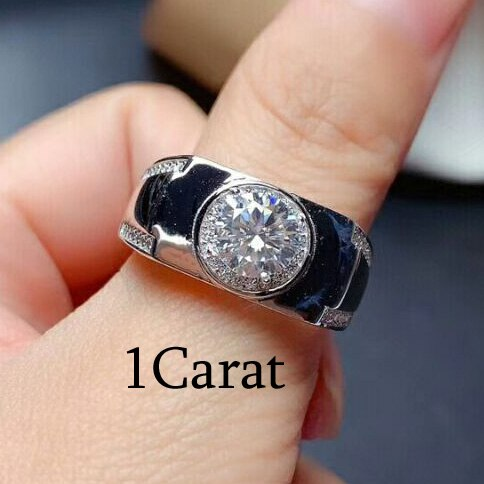 MeiBaPJ 1/2/3 Carats Diamond Silver Ring for Men