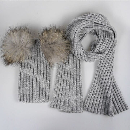Girls' Boys' Baby 2 Piece Knitted Set with Scarf and Hat with Raccoon Fur Pompom