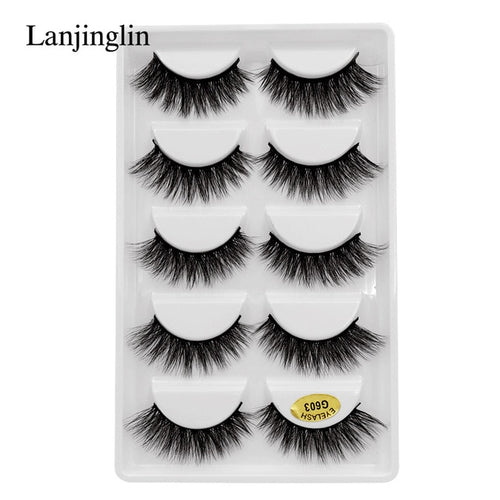 Lanjinglin Natural Long Mink False Eyelashes 3D Volume 50 Boxes