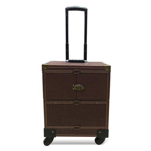 Faux Leather Cosmetic Organizer Travel Suitcase with Wheels