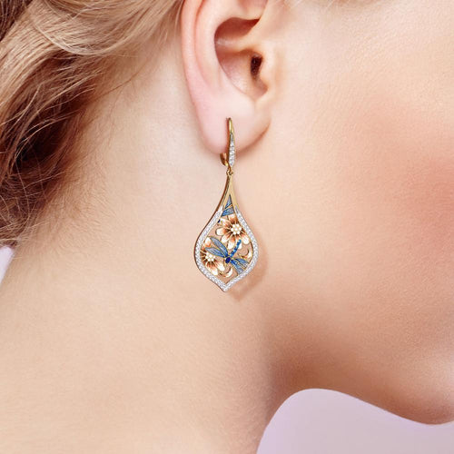 Women's 925 Sterling Silver Blue Flower and Dragonfly Drop Earrings