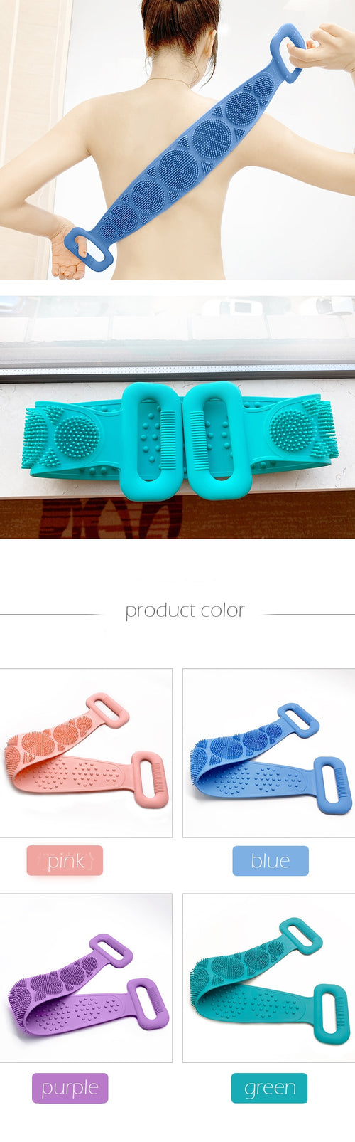 Silicone Exfoliating Massaging Double Sided Shower Back Scrubber