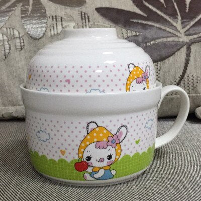 Large Size Ceramic Cartoon Bowl Set with Lid and Spoon