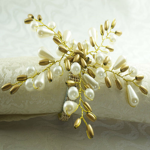 Pearl Flower Decorative Napkin Ring 12 Pieces