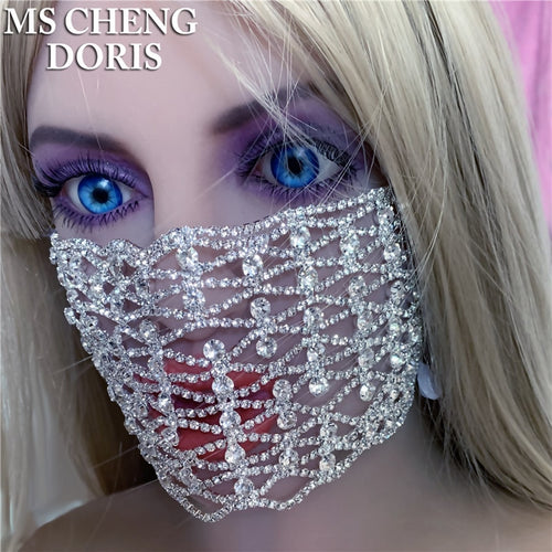 Women's Jewelry Mask with Crystal Decoration