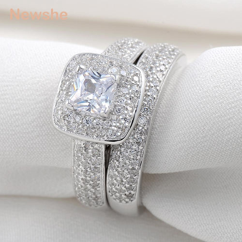 Women's 2 Piece 925 Sterling Silver Crystal Engagement Ring Set