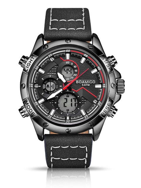 Men's 3 ATM Waterproof Chronograph Quartz Watch with Dual Display and Luminous Hands