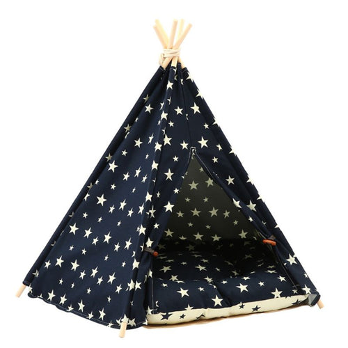 Sturdy Pet Teepee Bed with Cushion and Starry Sky Print
