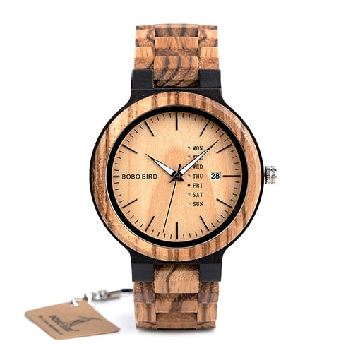 Men's Wooden Quartz Watch with Week and Date Display