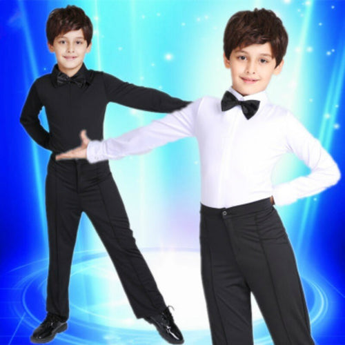 Boys' Ballroom Dance Costume Set with Long Sleeve Shirt and Pants