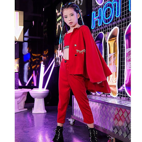 Girls' Modern Hip Hop Jazz Street Dance 3 Piece Suit Costume Set with Long Sleeve Jacket Strapless Top and Pants