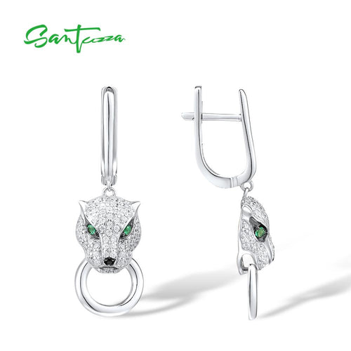 Women's 925 Sterling Silver Panther Drop Earrings
