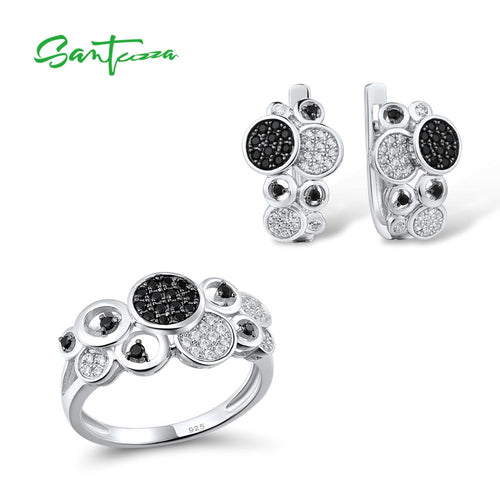 Women's 925 Sterling Silver Black Spinel Crystal Jewelry Set with Earrings and Matching Ring