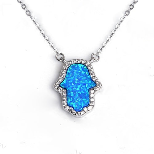 Women's 925 Sterling Silver Opal Hamsa Hand of Fatima Long Chain Pendant Necklace