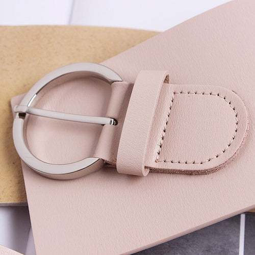 Women's Wide Asymmetrical Belt with Metal Round Buckle