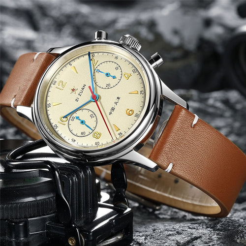Men's Stainless Steel 3 ATM Waterproof Chronograph Mechanical Hand Wind Pilot Watch
