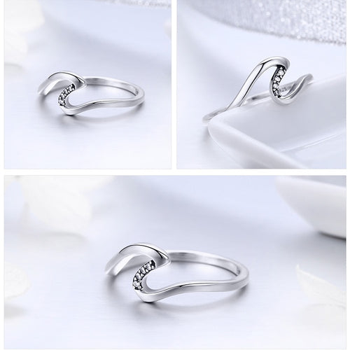 Women's 925 Sterling Silver Geometric Wave Ring