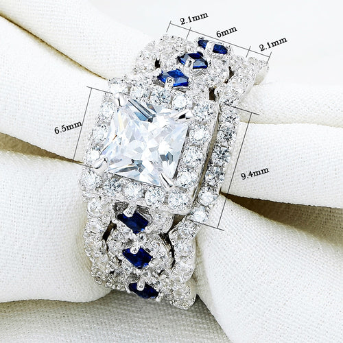 Women's 3 Piece 925 Sterling Silver Crystal Engagement Ring Set