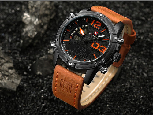 Men's 3 ATM Waterproof Quartz Watch with Dual Display and Leather Band